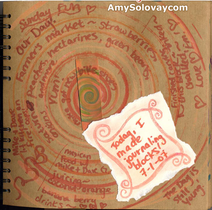 Artist's art journal page with painting including hand painted spin art, plus a hand stamped journaling block