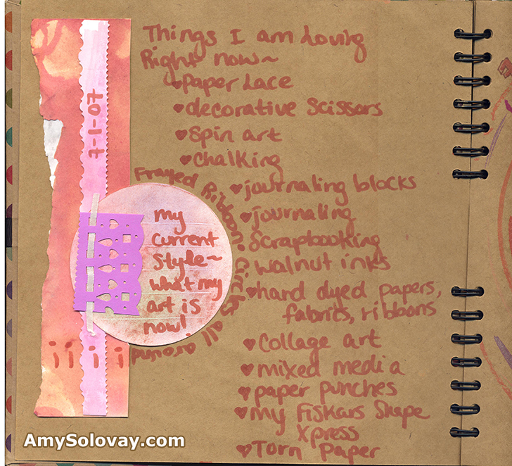 Artist's art journal page featuring paper lace and collage art