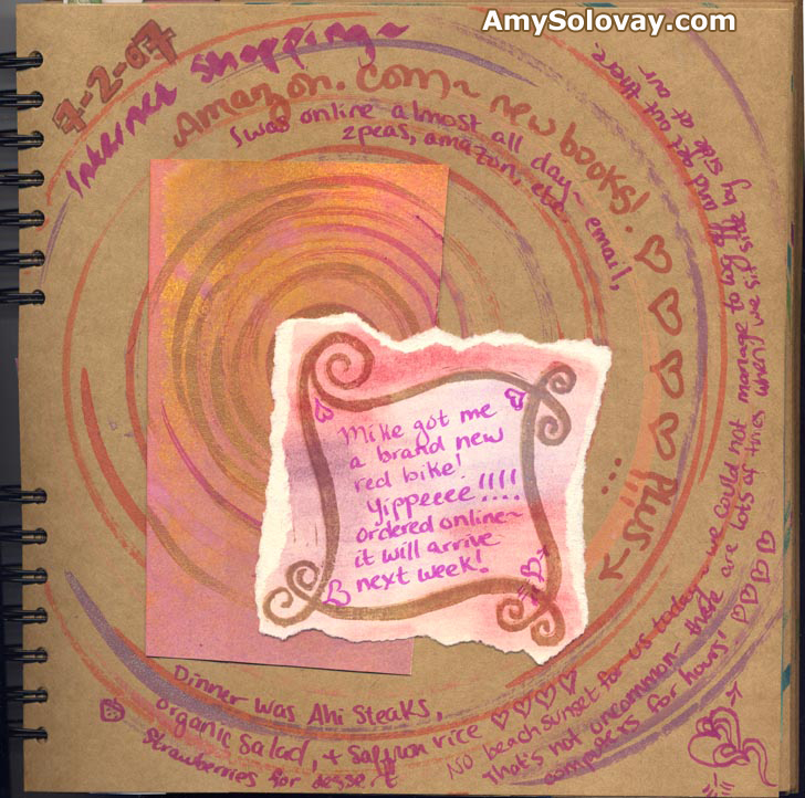 Handmade Artist's Art Journal Page With Collage, Hand Painting, Block Printing, Journaling Blocks and Spin Art