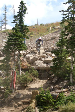 Chris riding the pro course at Brian Head, before his big crash