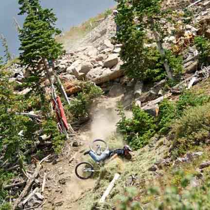 Expert Mountain Biker Crashing on the Pro Course in Brian Head, Utah