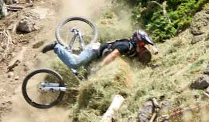 Mountain Biker Crashes into a Hay Bale During Practice Runs for the NMBS Mountain Bike Races in Brian Head, Utah