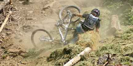 Expert Mountain Biker Crashing on the Pro Downhill Course at Brian Head, UT