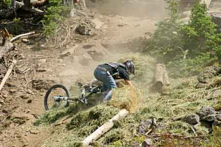 Expert Mountain Biker Crashed on the National Mountain Bike Series Races Pro Course in Brian Head, Utah