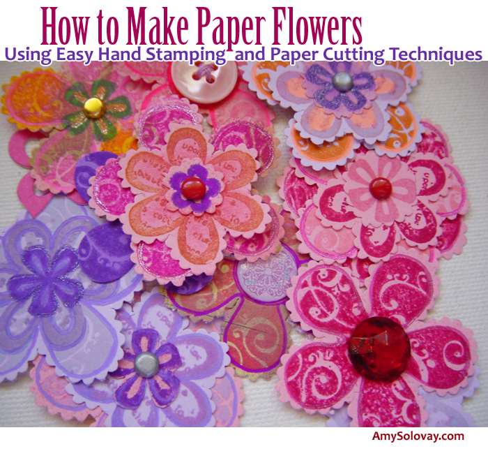Pink and Purple Flower Embellishments With Buttons, Brads, Crystals and Flourishes