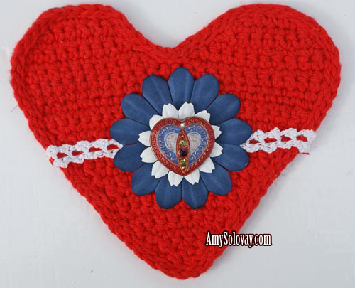 Crocheted Heart Embellished With Lace Trim, Flowers and Czech Glass Button - Free Crochet Patterns Are Available for Both the Heart and the Lace Trim.