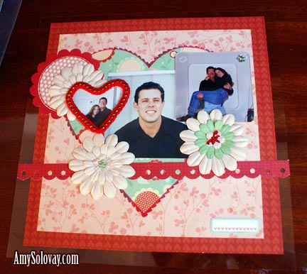 This romantic Valentine's Day themed scrapbook layout includes some of my picks for the best scrapbooking embellishments. Scrapbook Layout Made With Clear Scraps Acrylics and Be Loved Papers from My Mind's Eye.