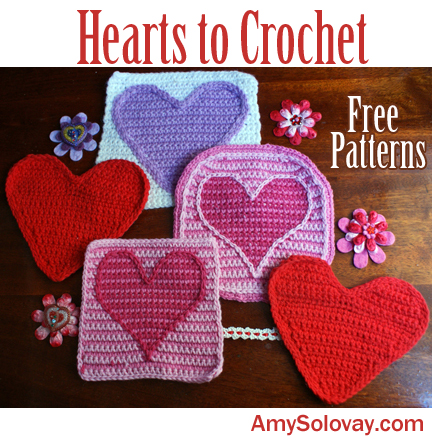 Find free patterns for hearts to crochet. This photo shows some, but not all, of the heart afghan squares and other heart designs you can learn how to make using free crochet patterns posted online.