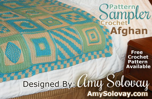 You can crochet a Pattern Sampler afghan that looks like this one, or customize your own afghan design using different crocheted squares, colors, motifs and an edging.