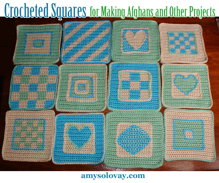 Crocheted Squares for Making Afghans and Other Projects -- I've posted free crochet patterns for making most of these afghan squares at KnittingandCrochet.net.