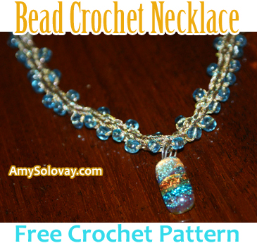 Handmade Jewelry Idea -- This Beaded Necklace Is Crocheted Using Gold Embroidery Floss and Embellished With a Handcrafted Dichroic Glass Pendant.