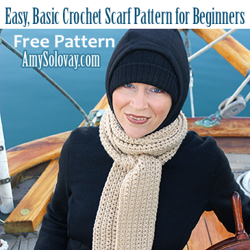 Easy, Basic Crochet Scarf for Beginners -- Free Pattern