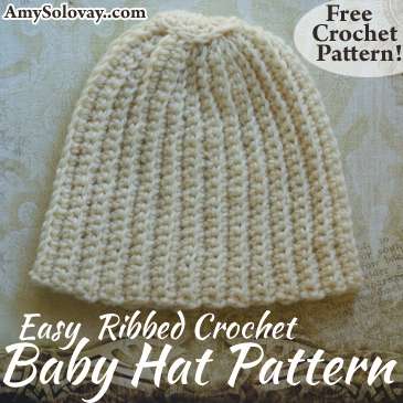 This photo accompanies a free crochet pattern for making an easy ribbed crochet baby hat. The pattern is suitable for crochet enthusiasts of all skill levels, from beginner through advanced. It's a quick crochet project that makes an excellent baby shower gift.