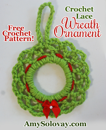 If you celebrate Christmas, perhaps you'd enjoy crocheting this cute little lace wreath ornament. The free crochet pattern is available online.