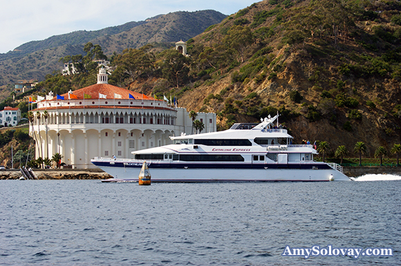 Here you can see the Catalina Express approaching Avalon Harbor. The Catalina Express is one of the ferries that takes passengers from the mainland to and from Catalina Island.