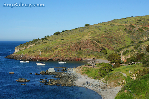 Here you can see Little Fisherman's Cove plus the adjacent campgrounds in Two Harbors, California.