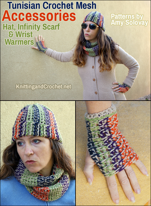 Tunisian Crochet Mesh Accessories: Hat, Fingerless Gloves and Cowl