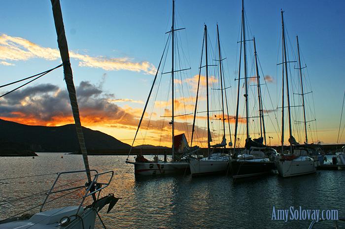 Sunrise over Marina Teulada on the island of Sardinia, Italy