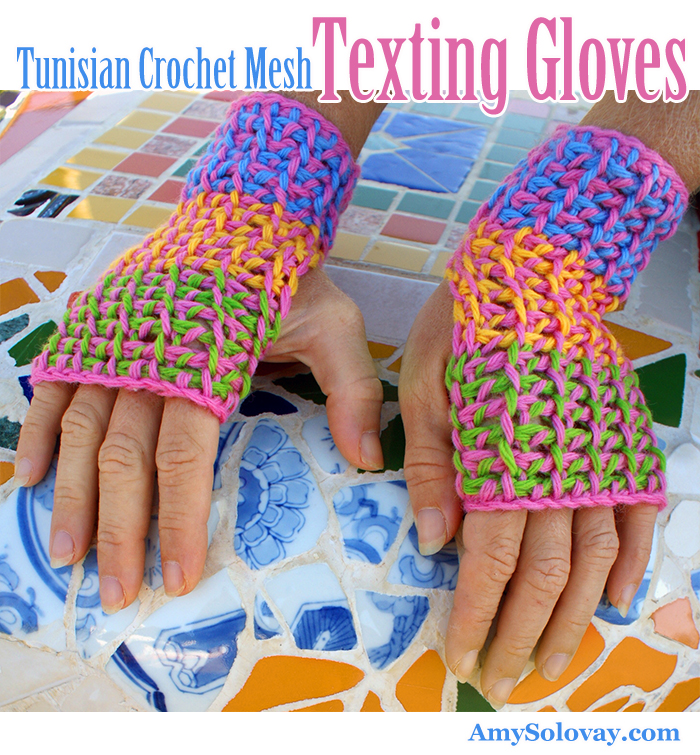 In this picture, you can see a couple of the things I've been talking about. These texting gloves show you an example of a colorwork pattern you can crochet using the Tunisian crochet mesh stitch. And they're photographed  at  Baltimore Park, with one of the mosaic benches as a backdrop. I LOVE how all the elements of this picture came together.