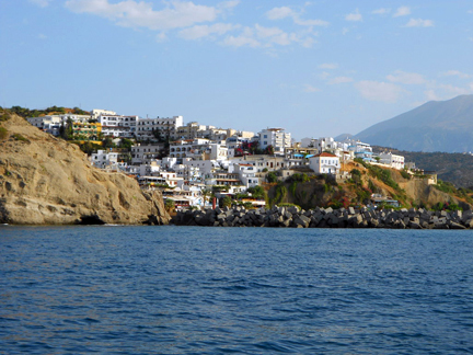 A View of Agia Galini. Photo Was Taken From a Sailboat Outside the Harbor, Sailing Towards the Greek Island of Crete.