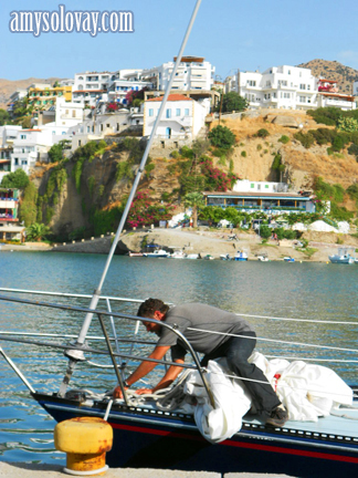 Docking the Sailboat in Agia Galini on the Greek Island of Crete.