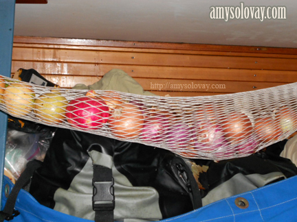 Our Gear Hammock Filled With Fruits and Veggies After Re-Supplying in Crete