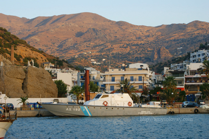 Hellenic Coast Guard Boat Docked in the Marina at Agia Galini on the Greek Island of Crete.
