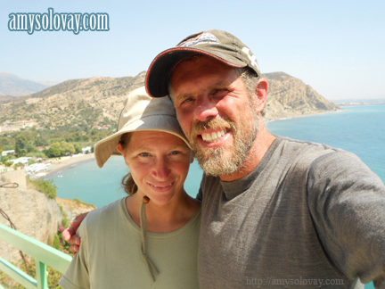 Mike and Amy, high up on a hill, overlooking the beach in Agia Galini on the Greek island of Crete. 9-15-2012