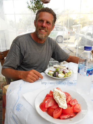 Mike With His Greek Salad, Plus My Tomato Salad