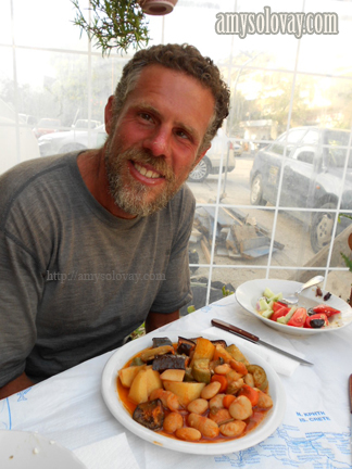Mike About to Dig in to a Plate of Greek Vegetables