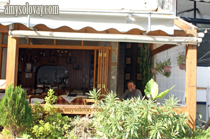 Mike Getting Ready to Order Breakfast at Cafe Megalonissis in Crete