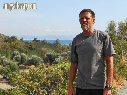 Mike out for a walk on the Greek island of Crete