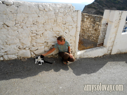Amy petting a Greek cat